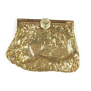 Vintage 1940s Whiting And Davis Metal Mesh Phoenix Hand Bag Purse Gold Clutch Flaw