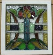 Old English Leaded Stained Glass Window Very Colorful Floral 18.75 X 20.5