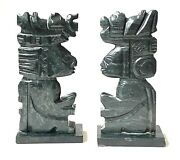 Vintage Carved Green Onyx Marble Mayan Aztec Sculpture Bookends