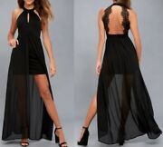 New Lulus My Beloved Black Lace Maxi Dress Small S Homecoming Prom