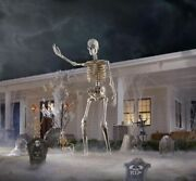 12 Foot Ft Tall Giant Skeleton W/ Animated Lcd Eyes Halloween Prop Brand New