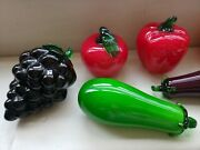 Hand Blown Glass Fruit And Vegetables - Vintage Murano Art Deco Lot Of 7 Pieces