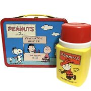 Vintage 1973 Peanuts Double Sided Comic Strip Metal Lunchbox And Thermos