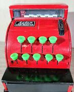 Vintage 1950s Aster Cash Register Tin Toy Red Made In Japan Euc