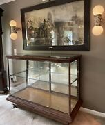 Antique Vintage Oak General Country Store Glass Showcase Display Case Cabinet