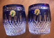 Pair Of Signed Waterford Clarendon Cobalt Crystal Glasses Gerard Treacy New