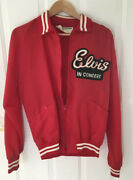 Vintage 1970andrsquos Nylon Elvis Presley Ultra Rare Tcb Holloway Red Tour Jacket Med.