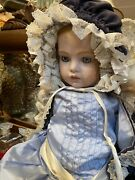 Antique Reproduction Bru Doll 30 In. Tall Lt.red Human Hair Wig Faux Kid Body