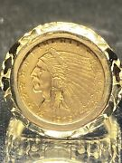 Coin Ring Nugget Any Ring Size Gold 2.5 Quarter Eagle And 14 Karat Gold