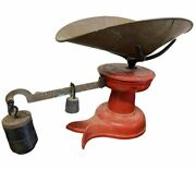 Antique 19thc Howe Fish Tail Scale Red Painted Cast Iron Brass Bin Weights Vt