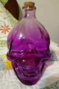 Large Glass Skelton 💀 Purple Bottle With Cork Halloween 5.5 H 🆕free Shipping