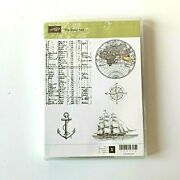 Stampin Up The Open Seas Stamp Set Unmounted Rubber Ship Globe Compass Cr1