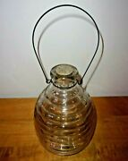 Vintage Bee Hive Fly Catcher Trap Clear Glass With Cork And Bail Wire Hanger