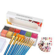 Professional Face Paint Oil Body Painting Art Party Fancy Make Up + Brushes Set