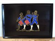 Large Vintage Couroc Cocktail Serving Tray Revolutionary Soldiers Drummers