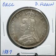 1887 Double Florin Silver British Coin Rare To Find This Nice