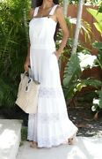 Giocam Long Overall Solid White With Gold Buttons Crochet Hem Dress Size Large
