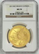2011 Mo Gold Mexico 3000 Minted 1 Oz Onza Winged Victory Coin Ngc Mint State 70