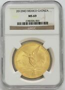2012 Mo Gold Mexico 3000 Minted 1 Oz Onza Libertad Winged Victory Coin Ngc Ms 69