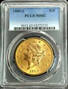 1899 S Gold 20 Liberty Head Double Eagle Coin Pcgs Mint State 62