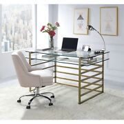 Acme Shona Desk Antique Gold And Clear Glass N/a N/a