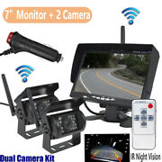 7 Wireless Backup Monitor+2x Rear View Camera System Night Vision For Truck Bus
