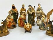 Large 11 Piece Hand Painted Resin Individual Figurines Christmas Nativity Scene