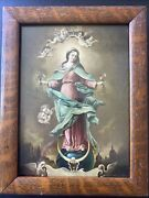 Antique Quarter Sawn Tiger Oak 8x10 Frame Pic Of Blessed Virgin Mary Wavy Glass
