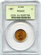 1907 Indian Head Penny Pcgs Ms64 Rd