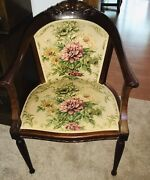 Antique Carved Victorian Louis Xv Style Parlor Arm Chair Roses Fabric Denmark