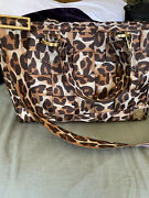 Harveys Seatbelt Bag Leopard Large Carriage Ring Tote With Cnc Strap.