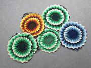 5 Vintage Cushion Covers Round Flower Sewing By Hand Modern Antiques Design 1960
