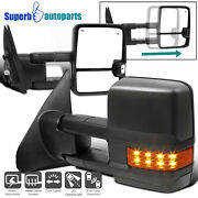 For 2007-2020 Toyota Tundra Black Power Heated Bsm Tow Mirrors W/led Signals