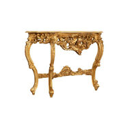 Biscottini Table Console En Bois Avec Finition Feuille Dand039or Antique Made In Ital