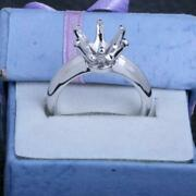 9mm Round Engagement Wedding Semi Mount Solitaire Fine Ring Solid 14k White Gold