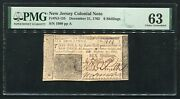 Nj-155 December 31, 1763 6s Six Shillings New Jersey Colonial Note Pmg Unc-63