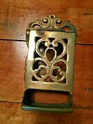 Vintage John Wright Solid Brass Wall Mounted Match Box Holder. A13