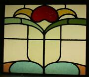 Old English Leaded Stained Glass Window Unframed W Hooks Floral 19.5 X 16.5
