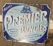 Premier Bicycles Cycle Antique Porcelain Sign 100 Original Early 1900s