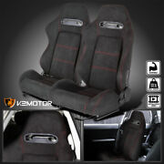 Left+right Side Black Suede Red Stitch Reclinable Sport Racing Seats W/ Slider