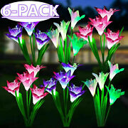 6 Pack Solar Lily Flowers Garden Lights Led Outdoor Yard Decor Lamp Multi-color