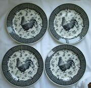 Queen's Rooster Black Dinner Plate - Set Of 4