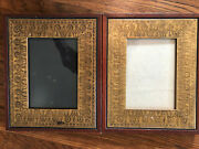 Pair Engraved Wooden Picture Frames