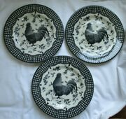 Queen's Rooster Black Dinner Plate - Set Of 3