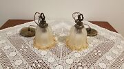 Vintage Mcm Pair Hanging Pendant Lights Glass Bell Shade Clear And Copper