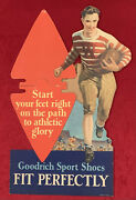 Antique 1930's U Of Wisconsin Football Themed Goodrich Shoes Store Display Sign