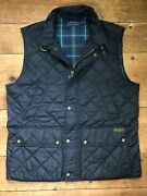 Polo Prl Black Quilted Country Shooting Throat Latch Vest Gilet M
