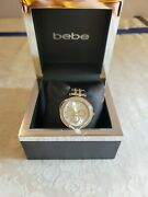 Bebe Womens Stainless Steel Watch Bling Yellow Gold Color Indices New In Box