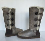 Ugg Bailey Button Triplet Bomber Leather Boots Brown 3049 W/bjcn Women Size 9