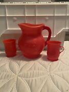 Vintage Kool-aid Man 2qt Pitcher And 2 Matching Drink Cups Red Plastic Set
